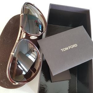 Tom Ford gold and brown aviators